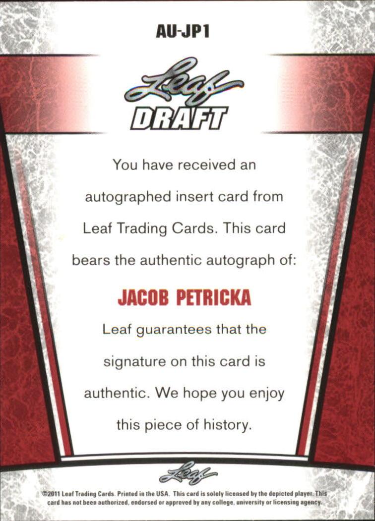 2011 Leaf Metal Draft #JP1 Jacob Petricka back image