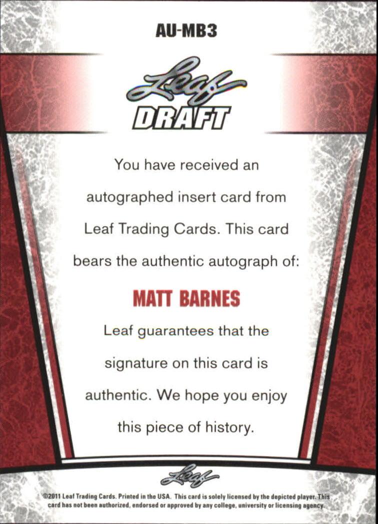 2011 Leaf Metal Draft #MB3 Matt Barnes back image