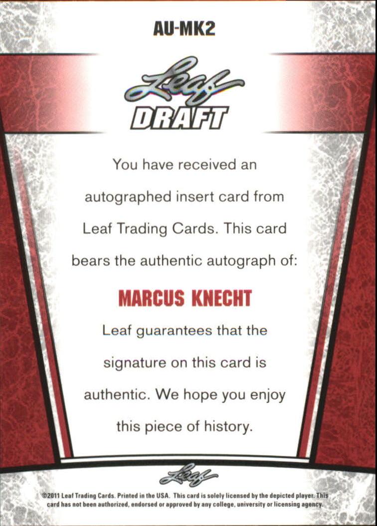 2011 Leaf Metal Draft #MK2 Marcus Knecht back image