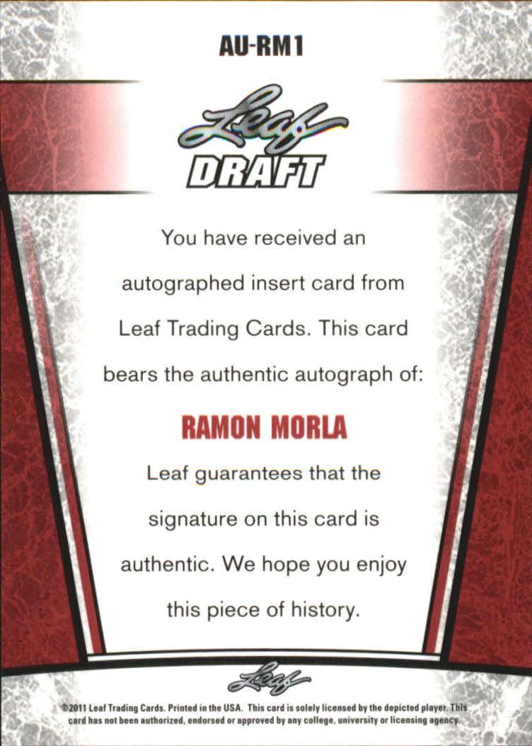 2011 Leaf Metal Draft #RM1 Ramon Morla back image
