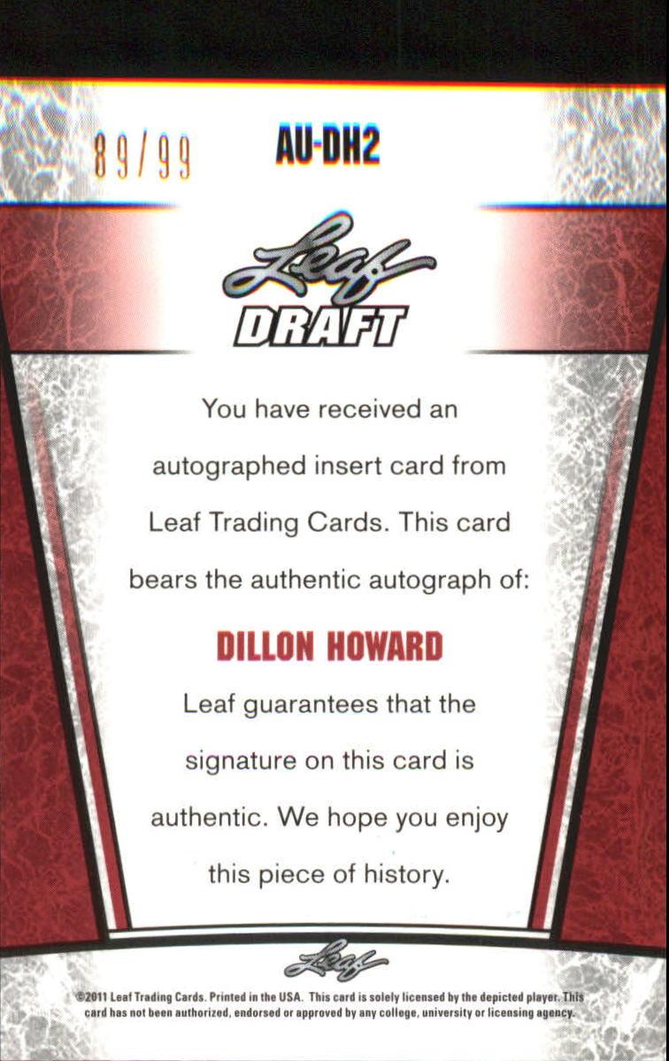 2011 Leaf Metal Draft Prismatic #DH2 Dillon Howard back image