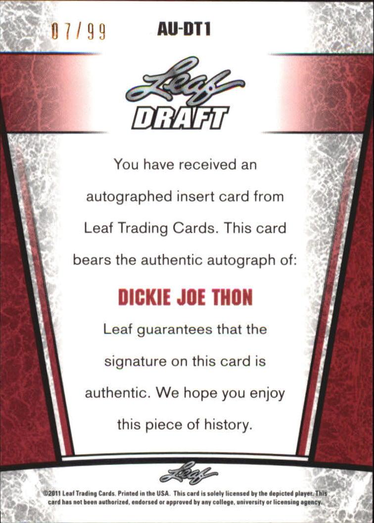 2011 Leaf Metal Draft Prismatic #DT1 Dickie Joe Thon back image