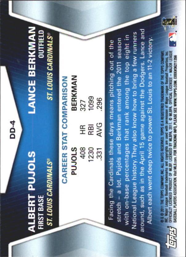 2011 Topps Update Diamond Duos #DD4 Albert Pujols/Lance Berkman back image
