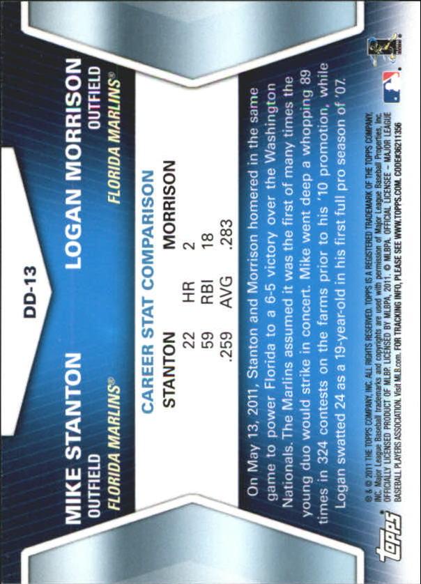 2011 Topps Update Diamond Duos #DD13 Mike Stanton/Logan Morrison back image