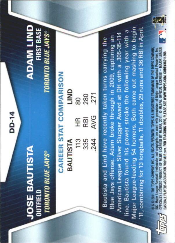2011 Topps Update Diamond Duos #DD14 Jose Bautista/Adam Lind back image