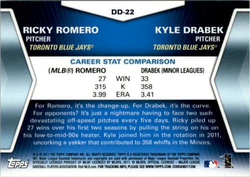 2011 Topps Update Diamond Duos #DD22 Ricky Romero/Kyle Drabek back image