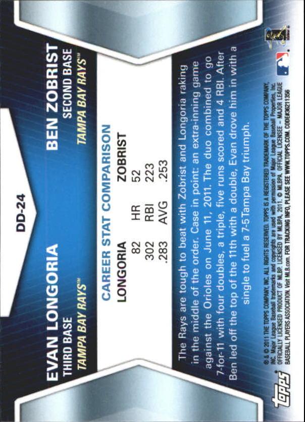 2011 Topps Update Diamond Duos #DD24 Evan Longoria/Ben Zobrist back image