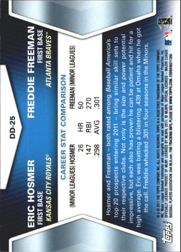 2011 Topps Update Diamond Duos #DD25 Eric Hosmer/Freddie Freeman back image