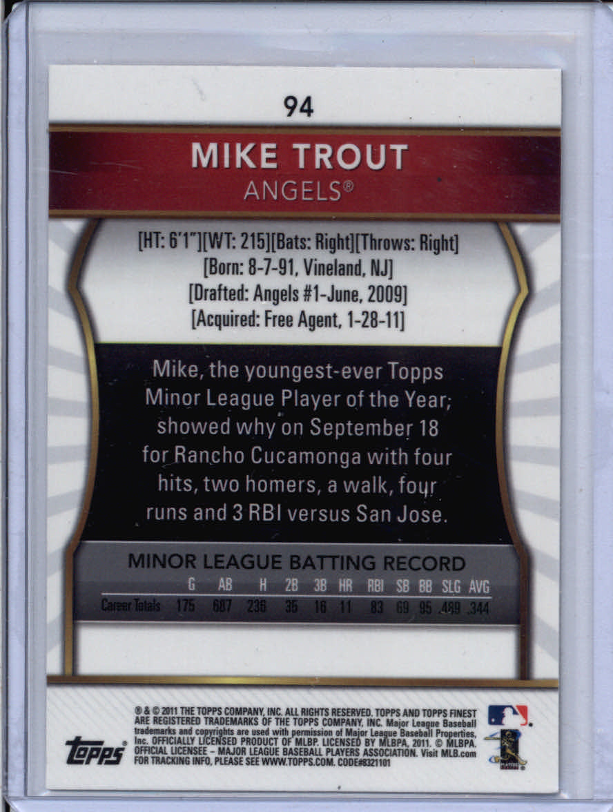 2011 Finest #94 Mike Trout RC back image