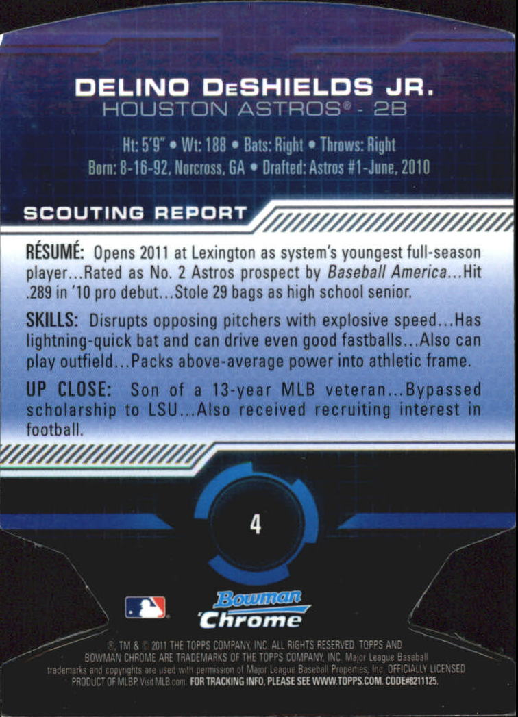 2011 Bowman Chrome Futures #4 Delino DeShields Jr. back image