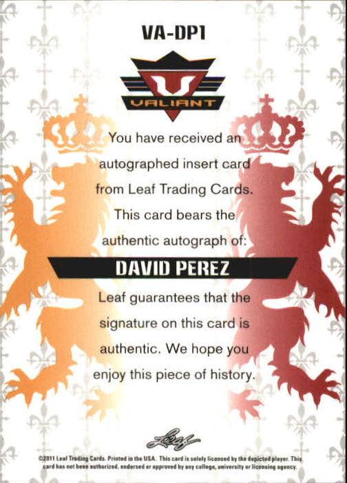 2011 Leaf Valiant Draft #DP1 David Perez back image