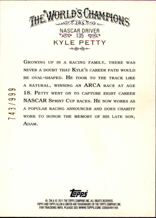 2011 Topps Allen and Ginter Glossy #135 Kyle Petty back image