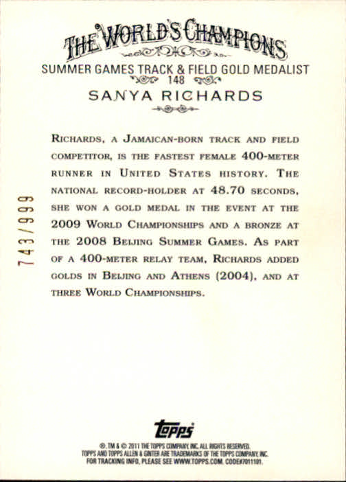 2011 Topps Allen and Ginter Glossy #148 Sanya Richards back image