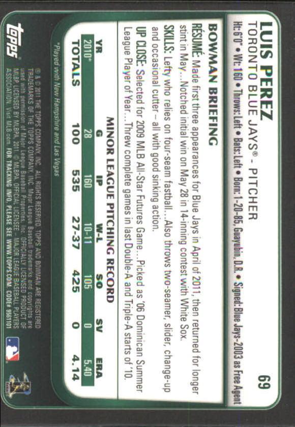 2011 Bowman Draft Gold #69 Luis Perez back image