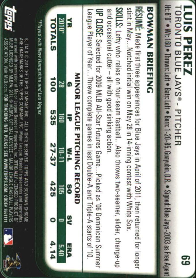 2011 Bowman Chrome Draft #69 Luis Perez RC back image