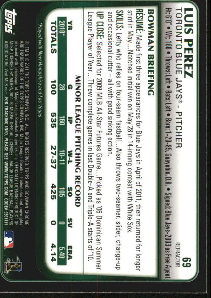 2011 Bowman Chrome Draft Purple Refractors #69 Luis Perez back image