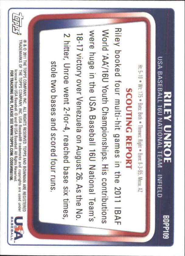 2011 Bowman Draft Prospects Gold #BDPP109 Riley Unroe back image