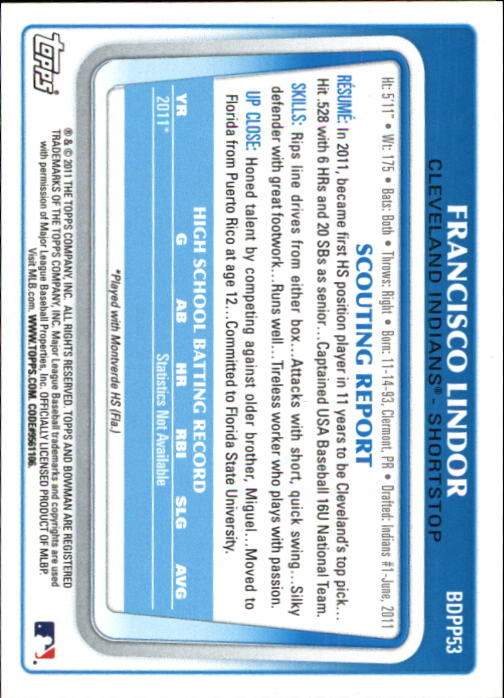 2011 Bowman Chrome Draft Prospects #BDPP53 Francisco Lindor back image