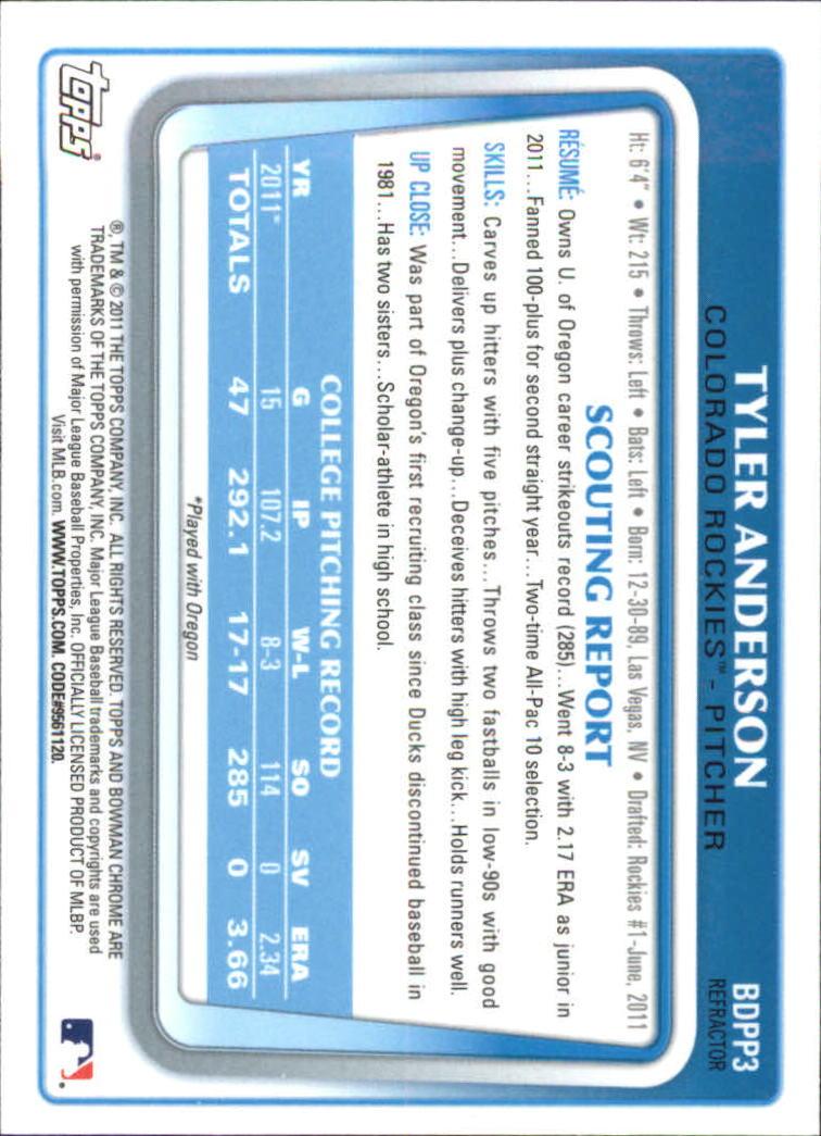2011 Bowman Chrome Draft Prospects Refractors #BDPP3 Tyler Anderson back image
