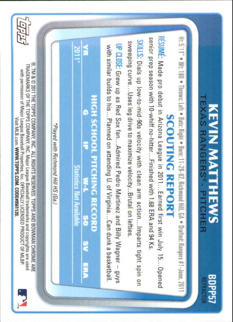 2011 Bowman Chrome Draft Prospects Refractors #BDPP57 Kevin Matthews back image