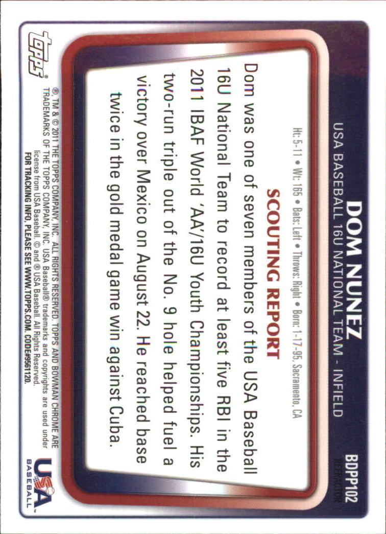 2011 Bowman Chrome Draft Prospects Purple Refractors #BDPP102 Dom Nunez back image