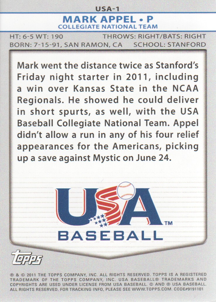 2011 USA Baseball #USA1 Mark Appel back image