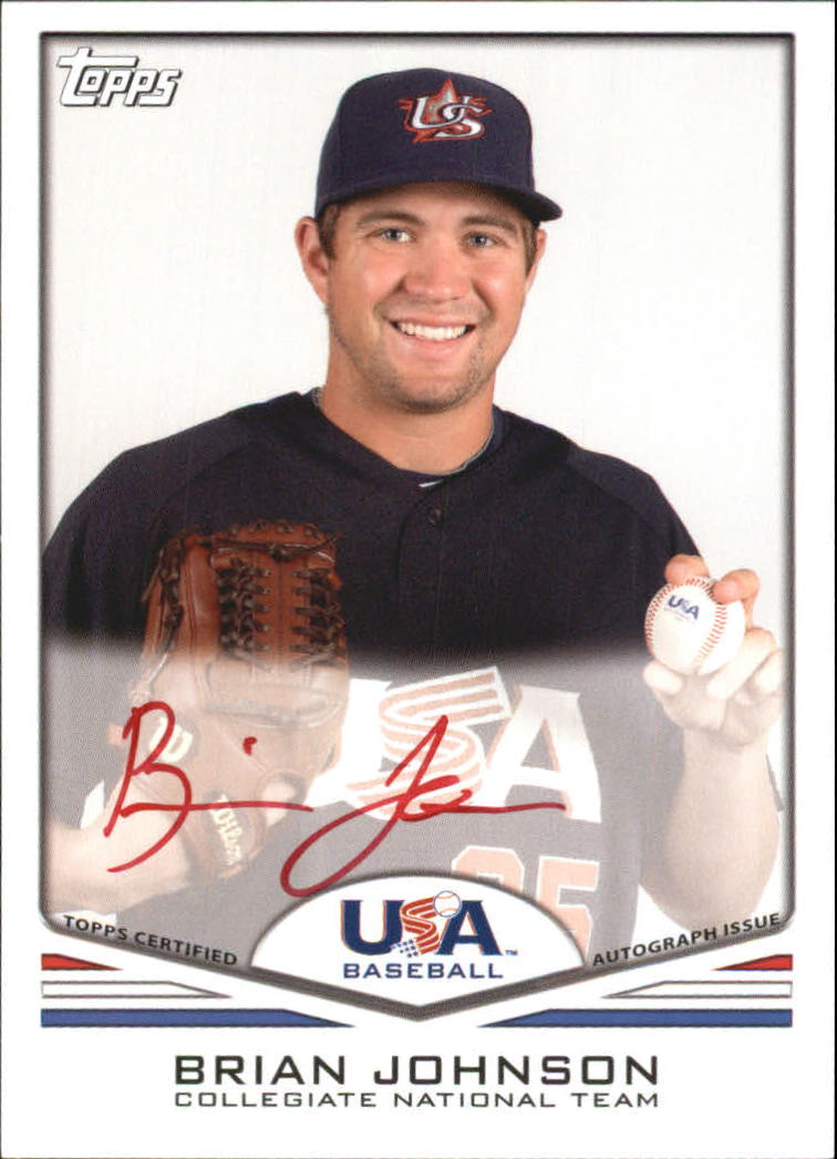 2011 USA Baseball Autographs Red #A8 Brian Johnson