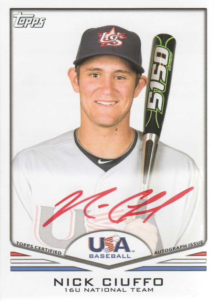 2011 USA Baseball Autographs Red #A26 Nick Ciuffo
