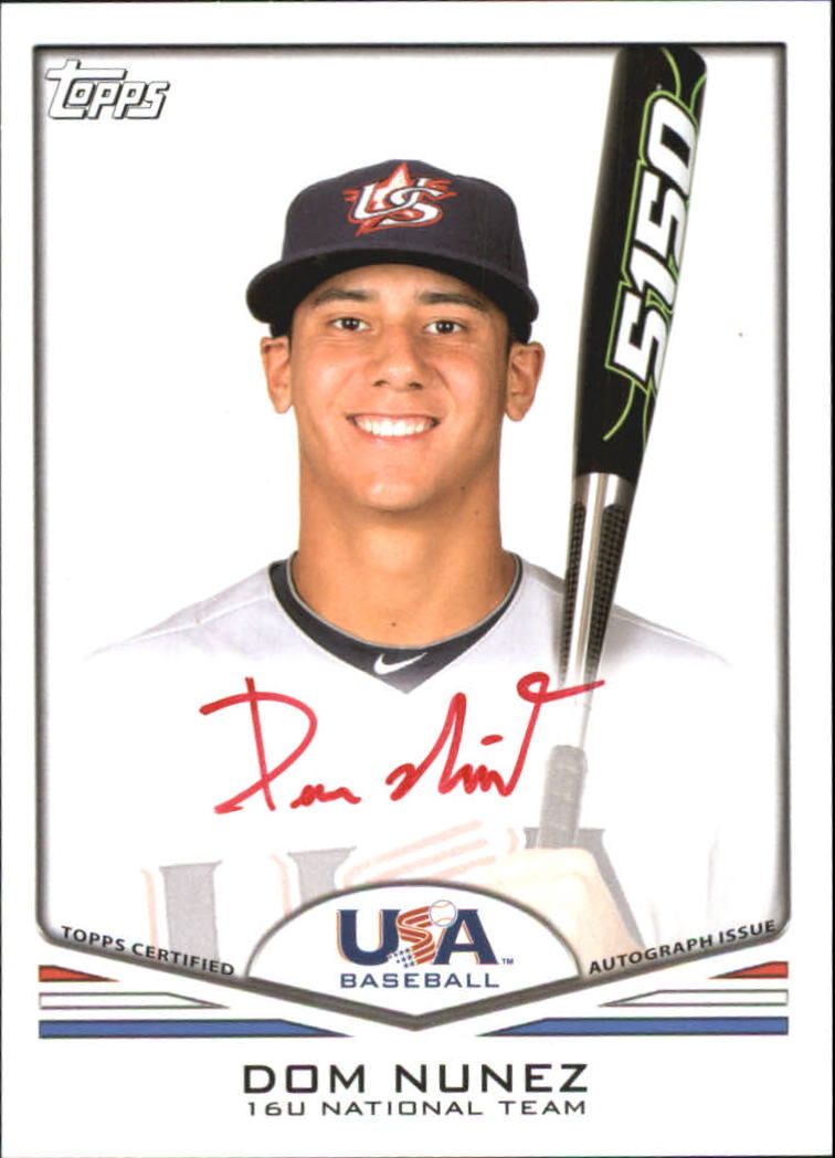 2011 USA Baseball Autographs Red #A34 Dom Nunez