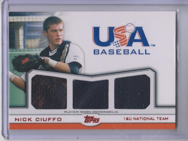 2011 USA Baseball Triple Jerseys Red #NC Nick Ciuffo