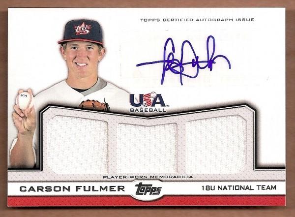 2011 USA Baseball Triple Jersey Autographs #CF Carson Fulmer/214