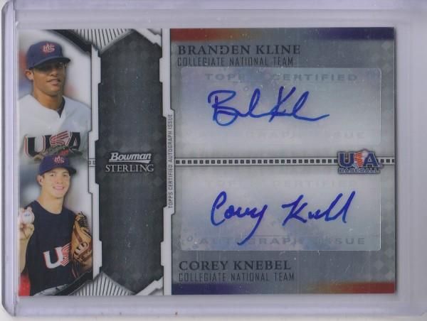 2011 Bowman Sterling Dual Autographs #KK Branden Kline/Corey Knebel