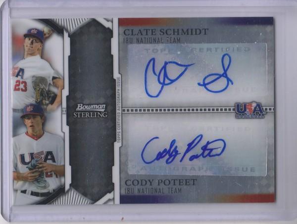 2011 Bowman Sterling Dual Autographs #SP Clate Schmidt/Cody Poteet