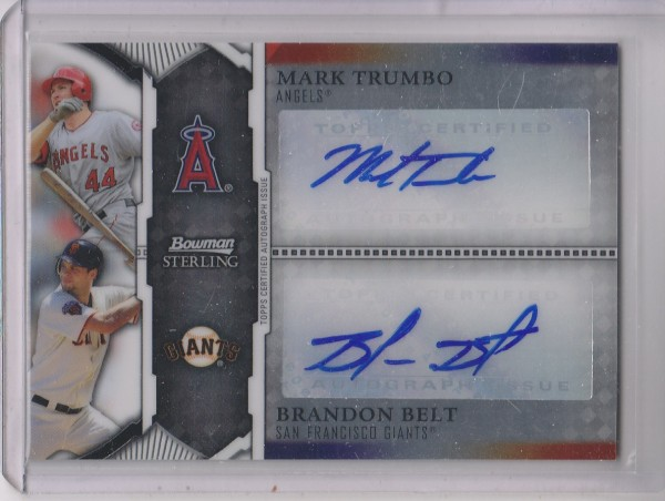 2011 Bowman Sterling Dual Autographs #TB Mark Trumbo/Brandon Belt