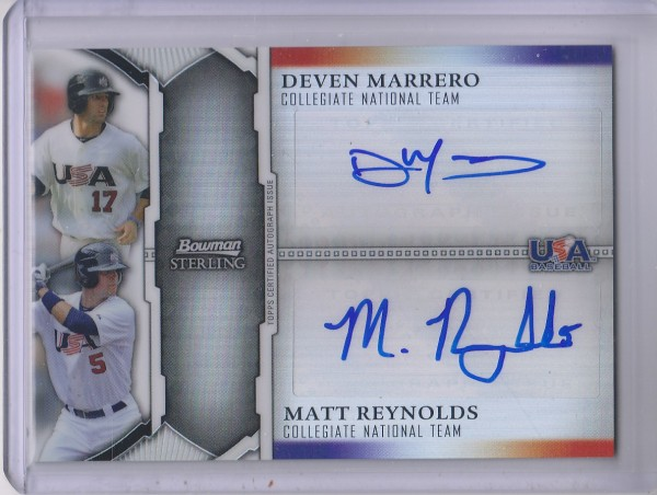 2011 Bowman Sterling Dual Autographs Refractors #MR Deven Marrero/Matt Reynolds