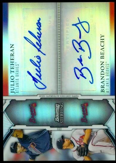 2011 Bowman Sterling Dual Autographs Refractors #TBE Julio Teheran/Brandon Beachy