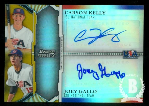 2011 Bowman Sterling Dual Autographs Gold Refractors #KG Carson Kelly/Joey Gallo