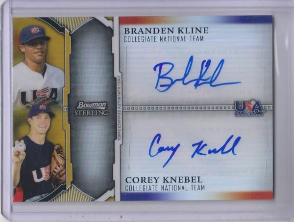 2011 Bowman Sterling Dual Autographs Gold Refractors #KK Branden Kline/Corey Knebel