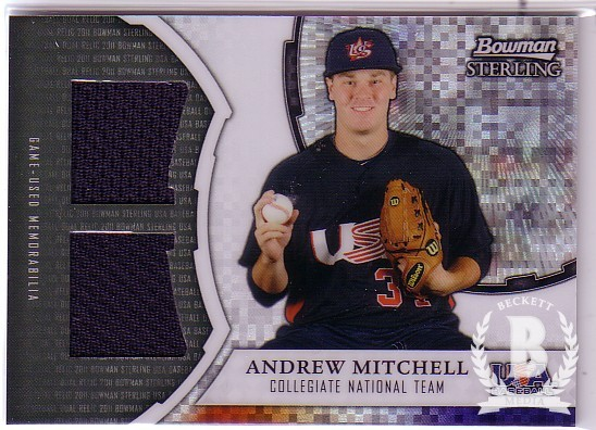 2011 Bowman Sterling USA Baseball Dual Relic X-Fractors #AM Andrew Mitchell