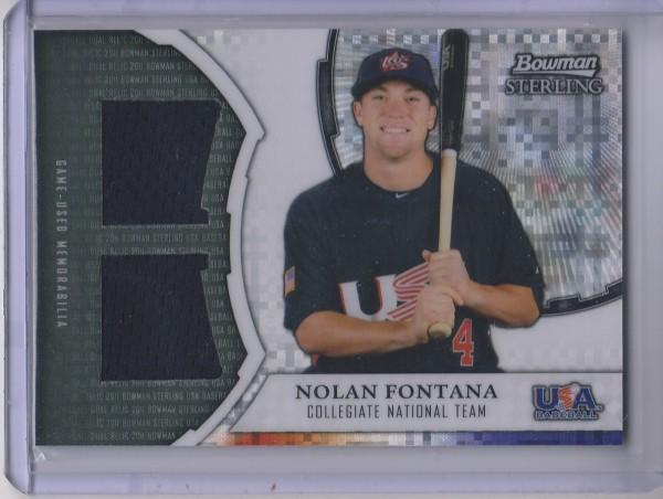 2011 Bowman Sterling USA Baseball Dual Relic X-Fractors #NF Nolan Fontana