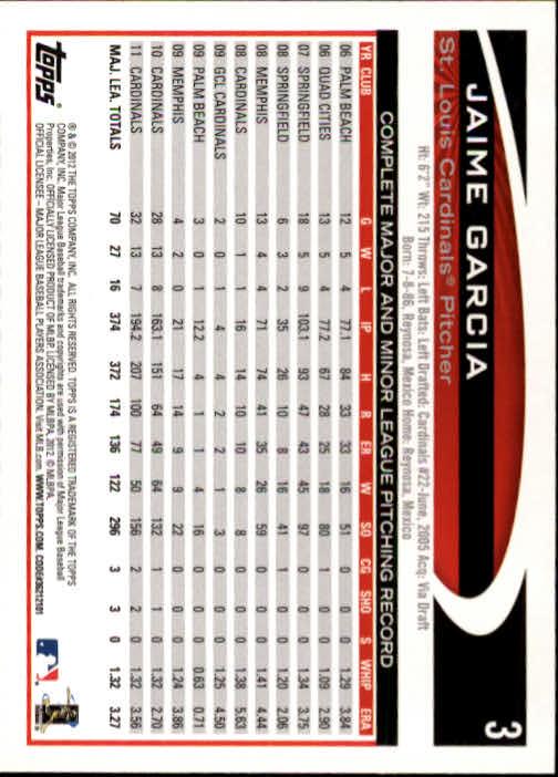 2012 Topps #3 Jaime Garcia back image