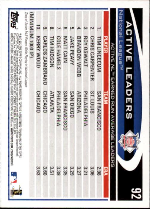 2012 Topps #92 Tim Lincecum/Chris Carpenter/Roy Oswalt LDR back image