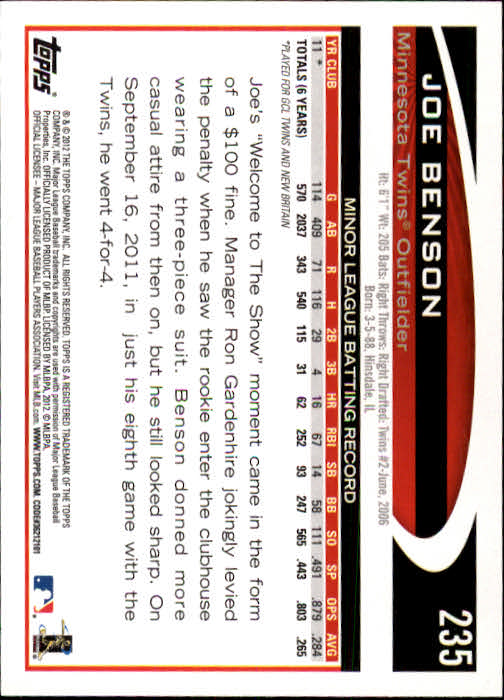 2012 Topps #235 Joe Benson RC back image