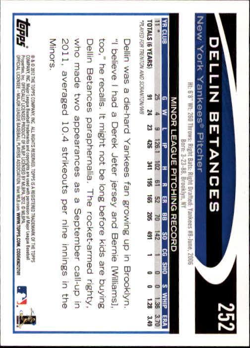 2012 Topps #252 Dellin Betances RC back image