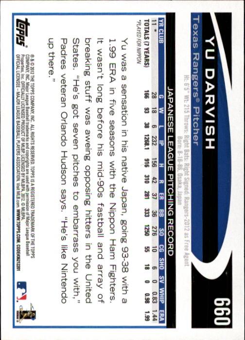 2012 Topps #660A Yu Darvish RC back image