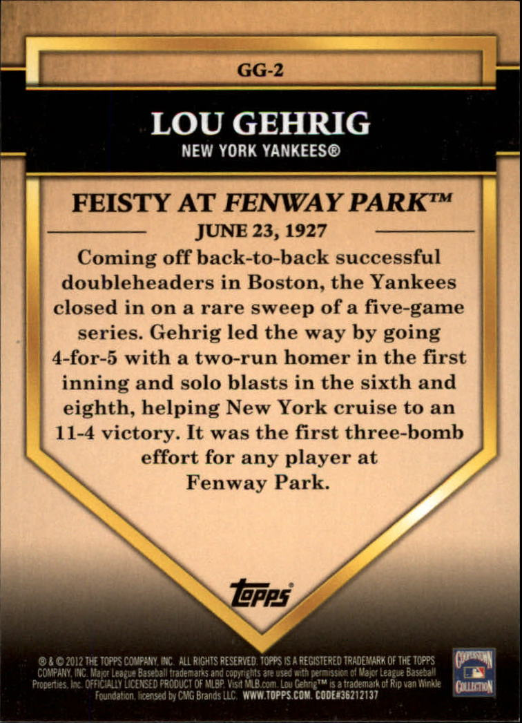 2012 Topps Golden Greats #GG2 Lou Gehrig back image