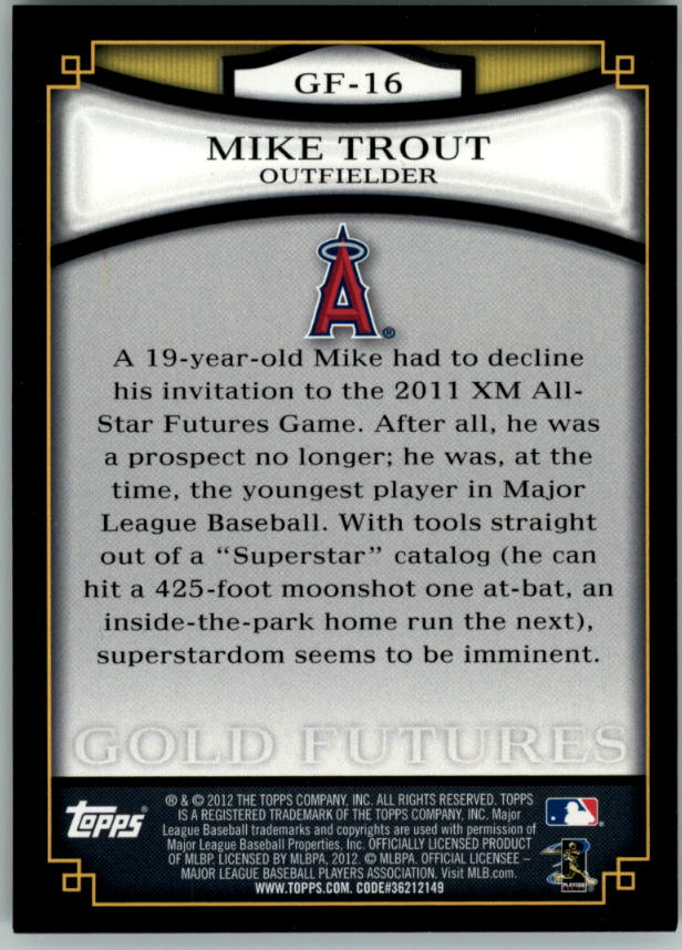 2012 Topps Gold Futures #GF16 Mike Trout back image