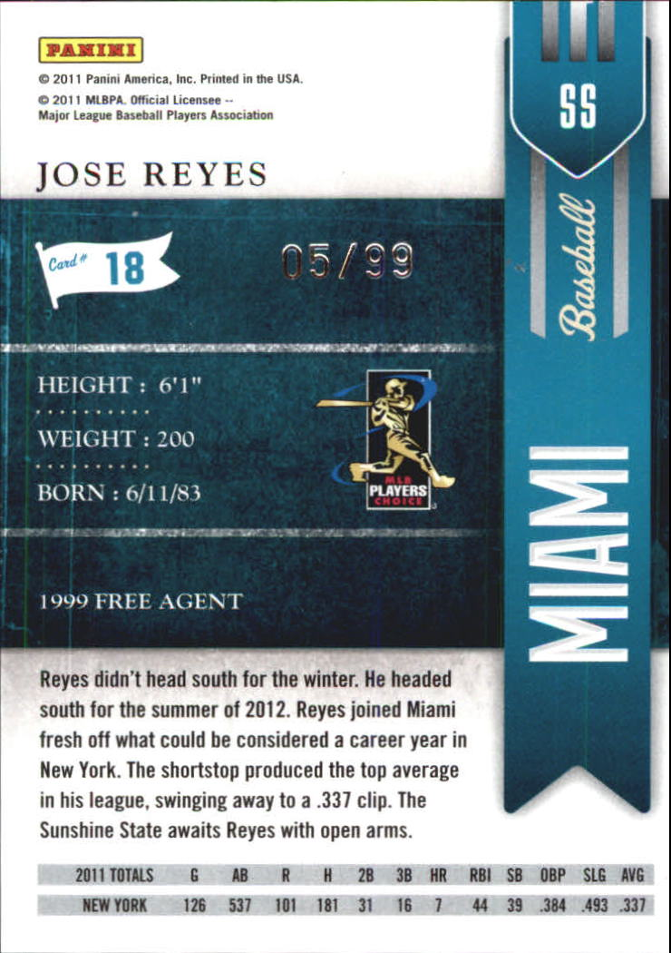 2011 Playoff Contenders Playoff Ticket #18 Jose Reyes back image