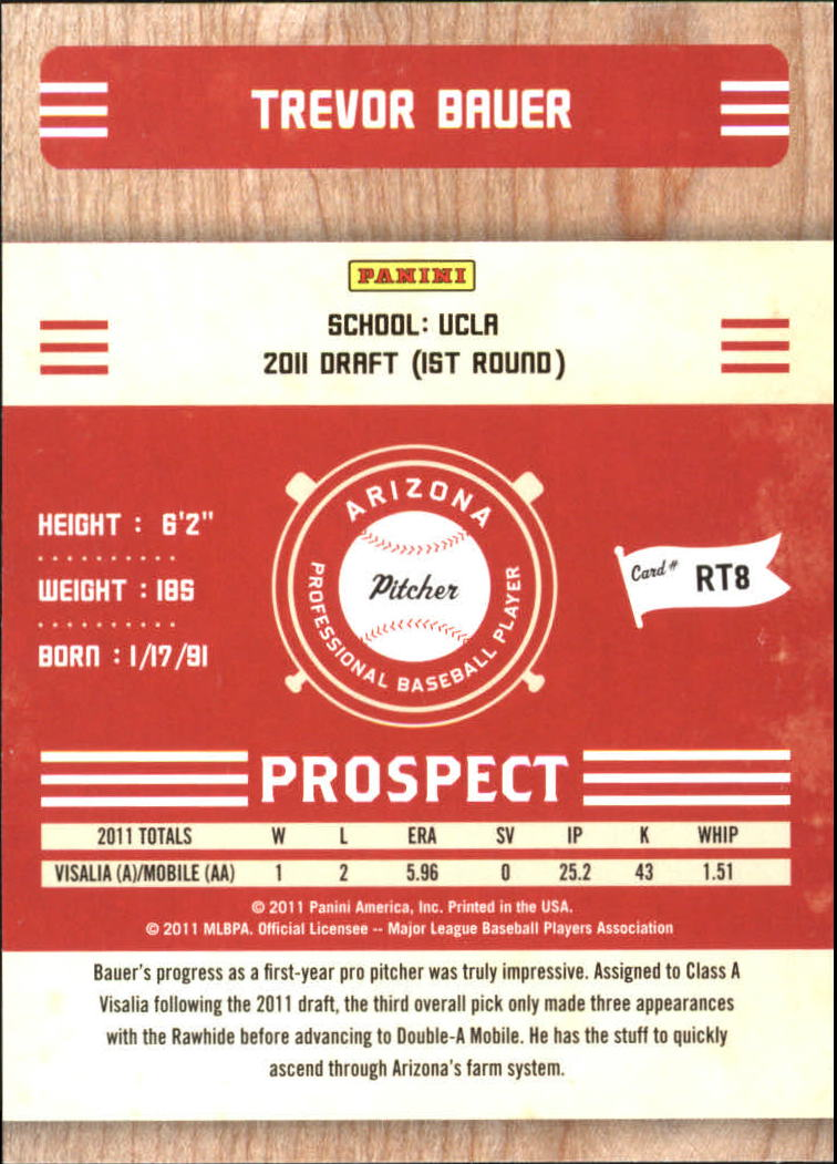 2011 Playoff Contenders Prospect Ticket #RT8 Trevor Bauer back image