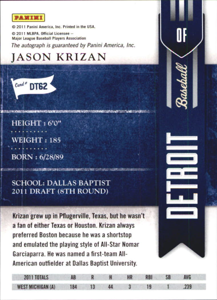 2011 Playoff Contenders Draft Ticket Autographs #DT62 Jason Krizan/261 * back image